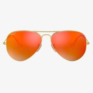 NEW Ray-Ban Aviator Orange Flash Lens Sunglasses